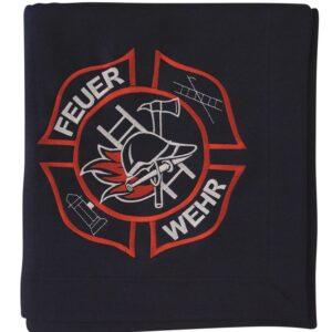 Feuerwehr Fleecedecke mit Stickmotiv-0