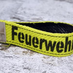 """Schlüsselanhänger neongelb, Aufdruck """"Feuerwehr"""