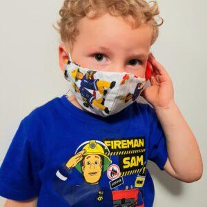 Kinder Mund-Nasenmaske Mundschutz Feuerwehrmann Sam hellgrau