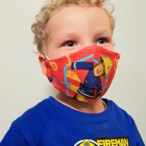 Kinder Mund-Nasenmaske Feuerwehrmann Sam rot