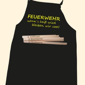 FEUERWEHR Grillschürze mit Taschenfach & Grillzange-0