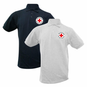 Poloshirt weiß oder blau mit DRK Rundlogo gedruckt