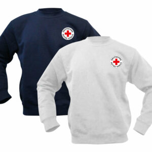 Sweatshirt weiß oder blau mit DRK Rundlogo gedruckt
