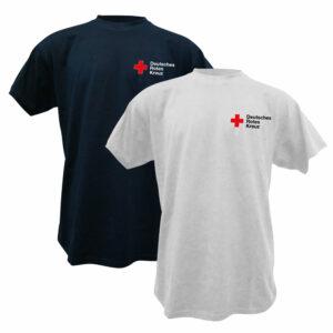 T-shirt, weiß oder blau mit DRK Kompaktlogo gestickt