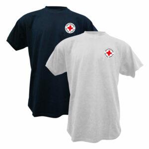 T-shirt weiß oder blau mit DRK Rundlogo gedruckt