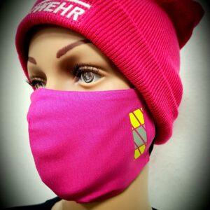 Mund-Nasenmaske Feuerwehrstyle Ladys pink Limited Edition Mundschutz